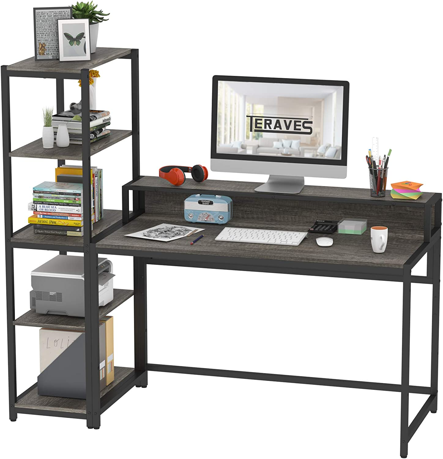 Teraves Computer Desk with 5 Tier Shelves,Reversible Writing Desk with Storage 47 Inch Study Table for Home Office Independent Bookcase and Desk for Multiple Scenes (Desk+Shelves, BOAK)