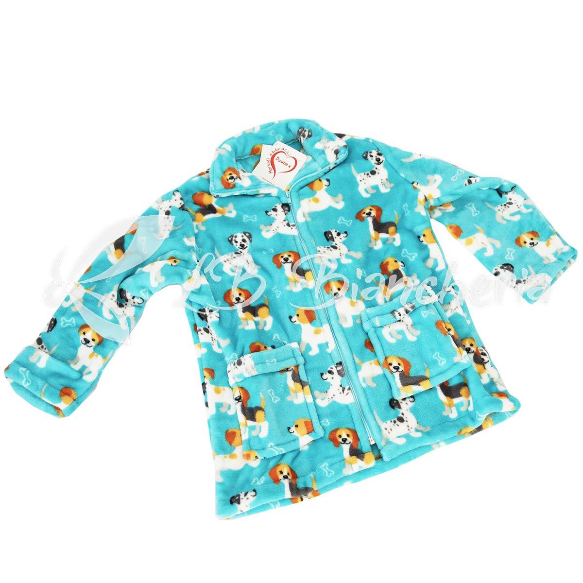 Azzurro R.P Vestaglia Felpa Giacchetta Bimbo in Morbida ciniglia Morbidotto Dalmata Baby Daunex 8-10 Anni TG