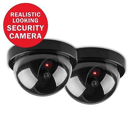 SANNCE 2 Cámaras falsa de vigilancia Domo Fake / Dummy con luz roja intermitente para la