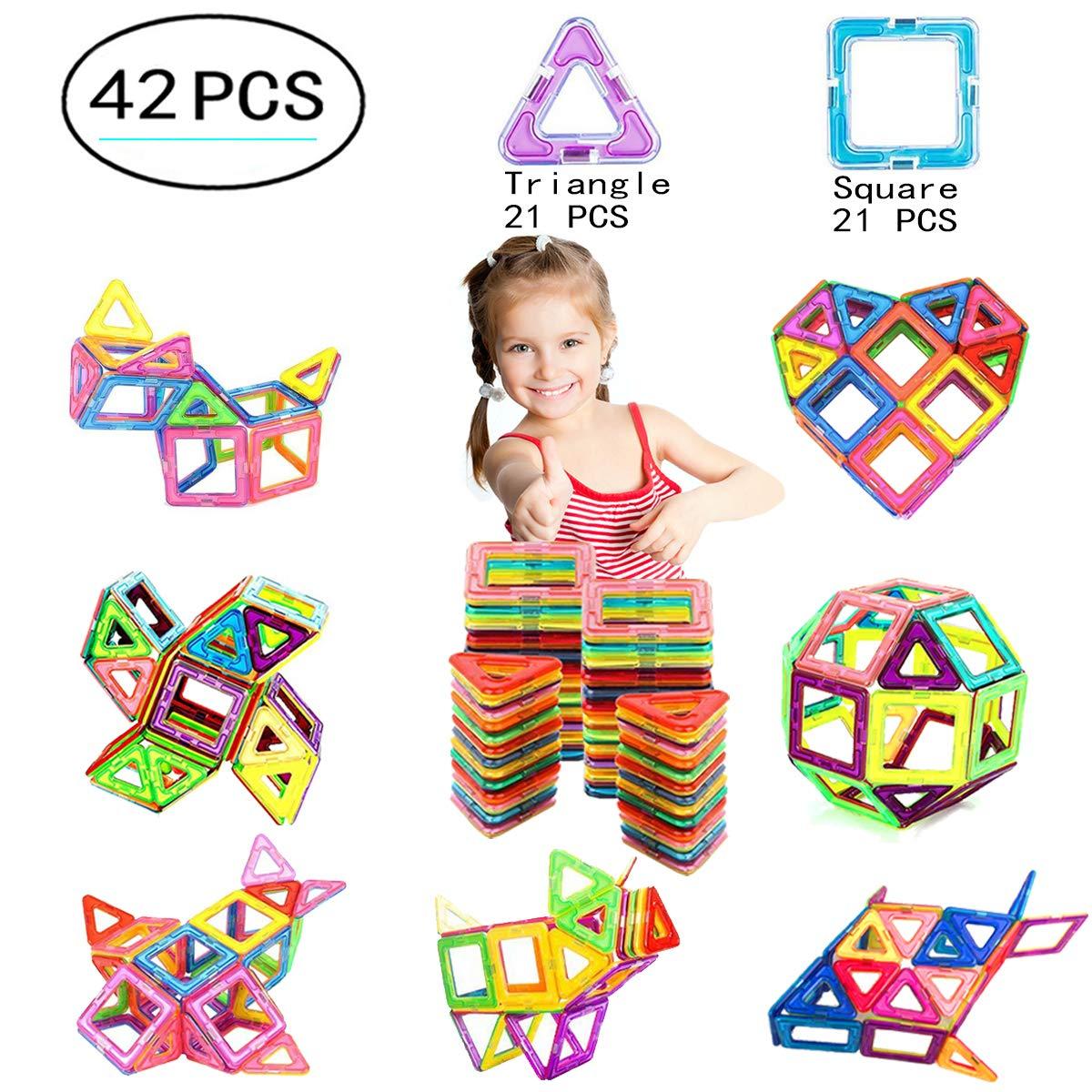 Ehome Magnetic Blocks, 42 PCS Magnetic Building Blocks with Strong Magnet, Magnetic Building Set for Kids Magnetic Tiles Educational Stacking Blocks Boys Girls Toys.