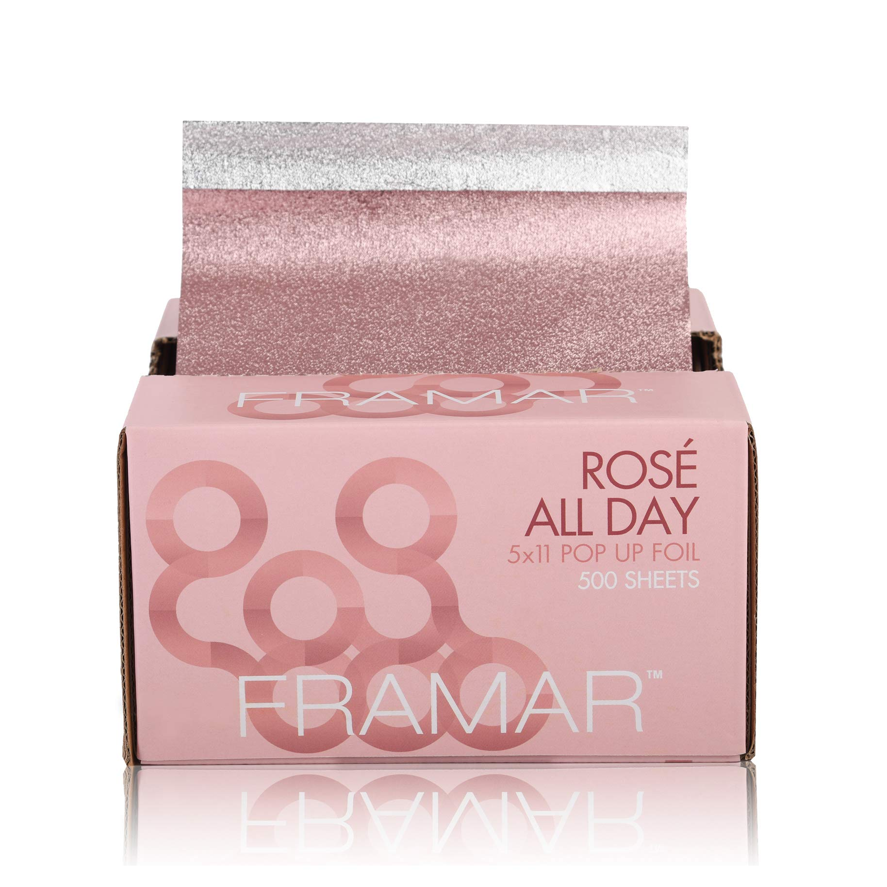 Framar Rosé All Day Pop Up Hair Foil, Aluminum Foil Sheets, Hair Foils For Highlighting - 500 Foil Sheets by FRAMAR
