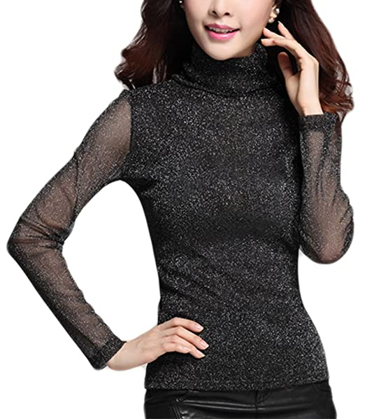cf5cda294a865f Image Unavailable. Image not available for. Color  Womens Sheer Bling Long  Sleeve Stretch Turtleneck Mesh Tops ...