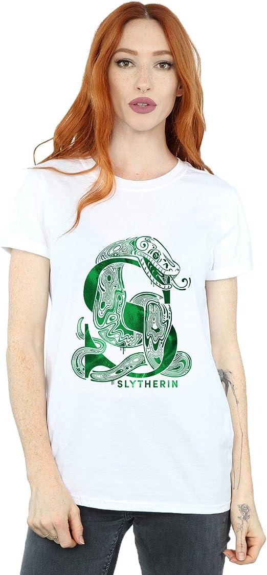 Harry Potter Mujer Slytherin Snake Camiseta del Novio Fit: Amazon ...