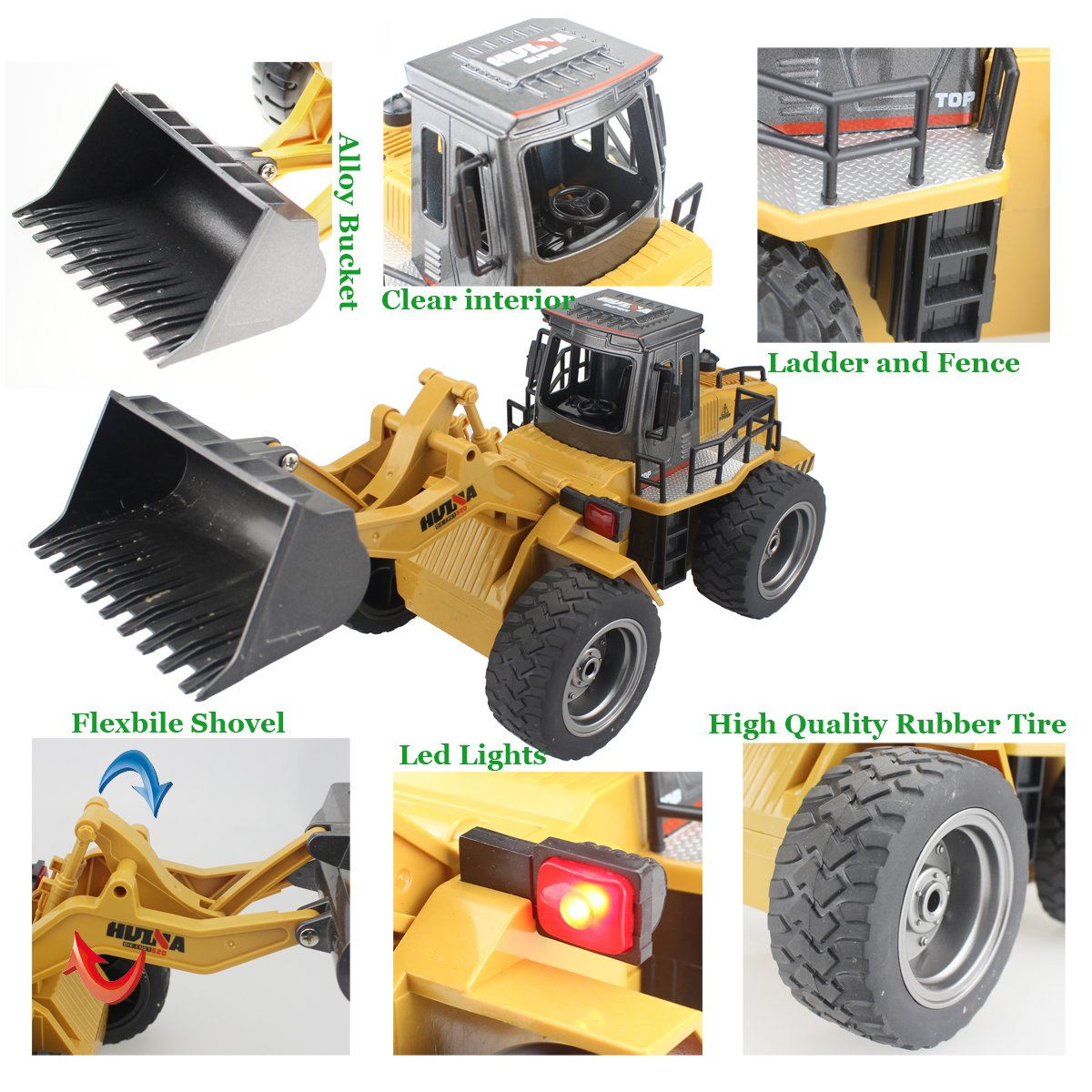 Fistone RC Truck Alloy Shovel Loader Tractor 2.4G Radio Control 4 Wheel Bulldozer 4WD Front Loader Construction Vehicle Electronic Toys Game Hobby Model with Light and Sounds by Fistone (Image #3)