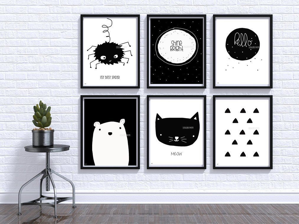 Amazon Com Nursery Wall Art Baby Room Decor Children Art Black And White Modern Minimalist Nursery Nordic Art Scandinavian Monochrome Kids Baby Bear Handmade
