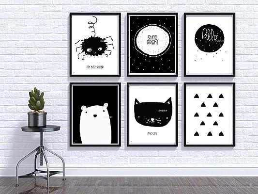 Nursery wall art, Baby room Decor, Children Art, Black and White, Modern, Minimalist nursery, Nordic art, Scandinavian Monochrome Kids, Baby bear