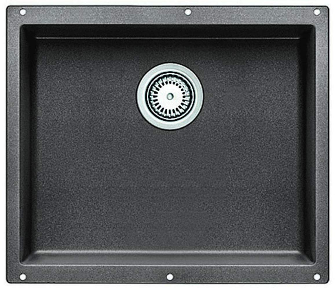 "BLANCO 513429 PRECIS SILGRANIT Undermount Kitchen Sink, 20.88"" L X 18.13"" W X 7.5"" D, Metallic Gray"