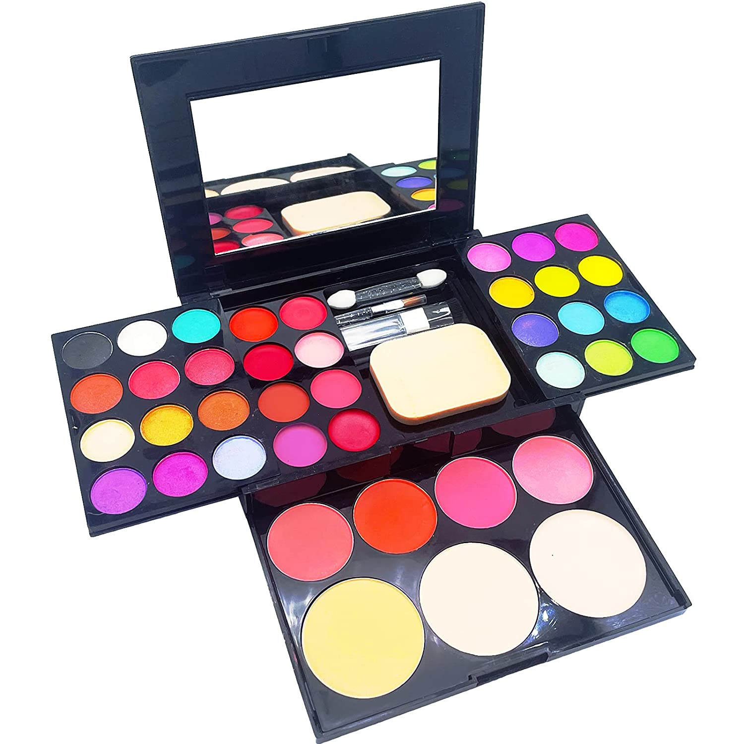 Eye Makeup Palette Set, 33 Bright Colors Matter and Shimmer Lip Gloss Blush Brushes, Colorful Long Lasting Blendable Professional Waterproof Eye Shadow Palette for Girls Festival Birthday Gift