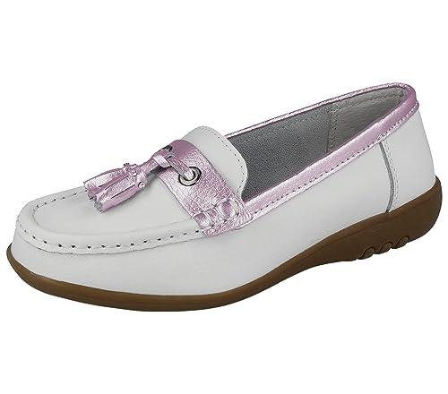 Mocasines para mujer Cassie, de piel, amortiguan al andar, con borla, sin cordones, más anchos: Amazon.es: Zapatos y complementos