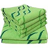 Dyckhoff 741396300, 6 teilig, Jacquard Wave, grün Qualität, 450 g/m², 2 Badetücher, Duschtücher 70 x 140 cm und 4 Handtücher 50 x 100 cm, 100 % Baumwolle