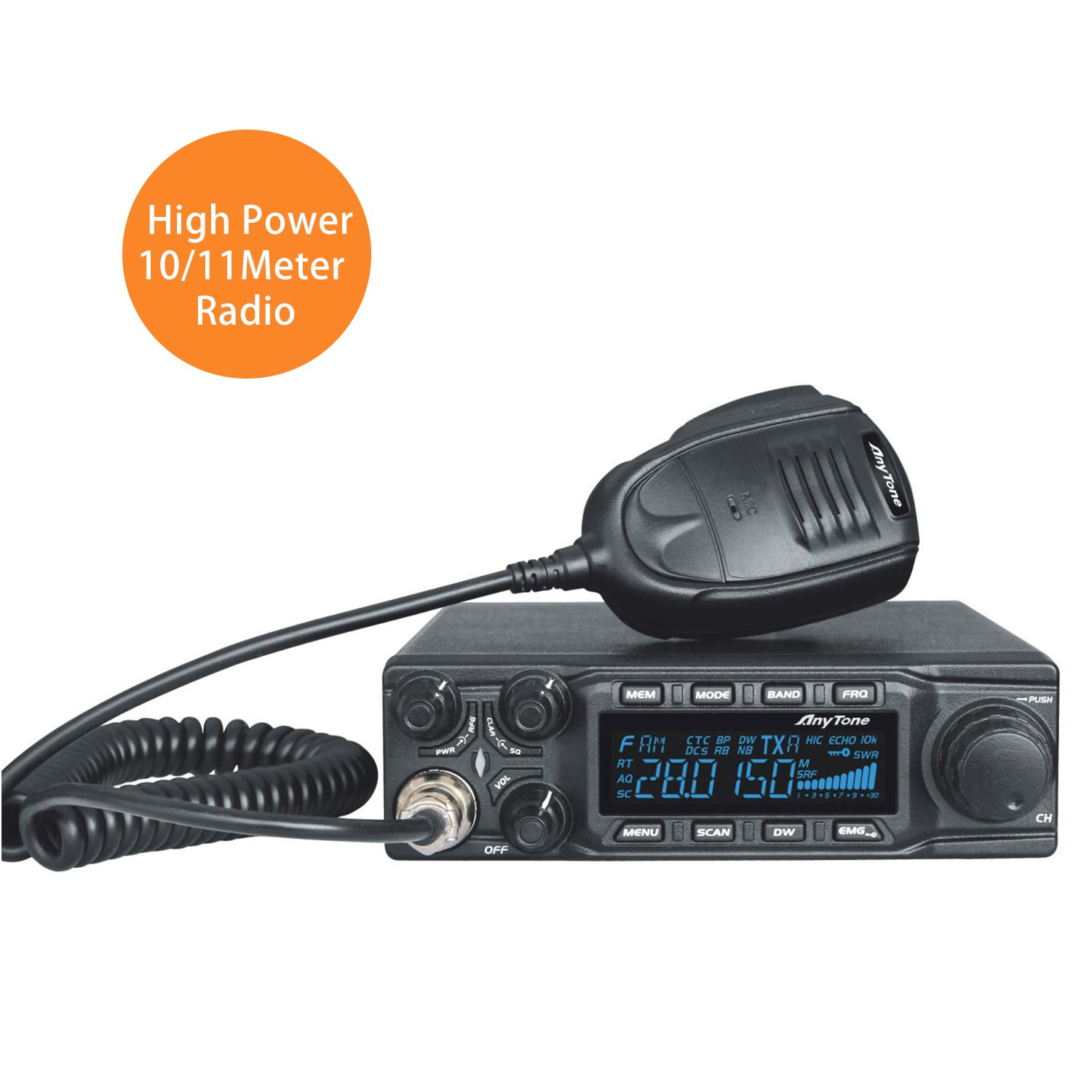 AnyTone AT-6666 CB Mobile Radio/Transceiver 10 Meter Radio wth SSB/FM/ AM /PA mode, Frequency 28-29.7MHZ 40 CH,high Power Output 15W AM,45W FM,60W SSB(PEP)