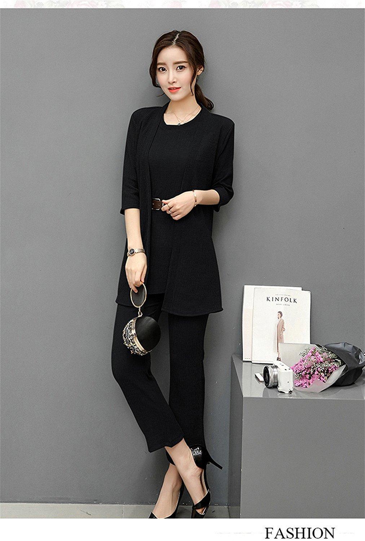 Toping Fine Women Suit Temperament Solid color Wide leg pants Round collar Three-piece Sets Women M-2XL WXY141 GrayMedium