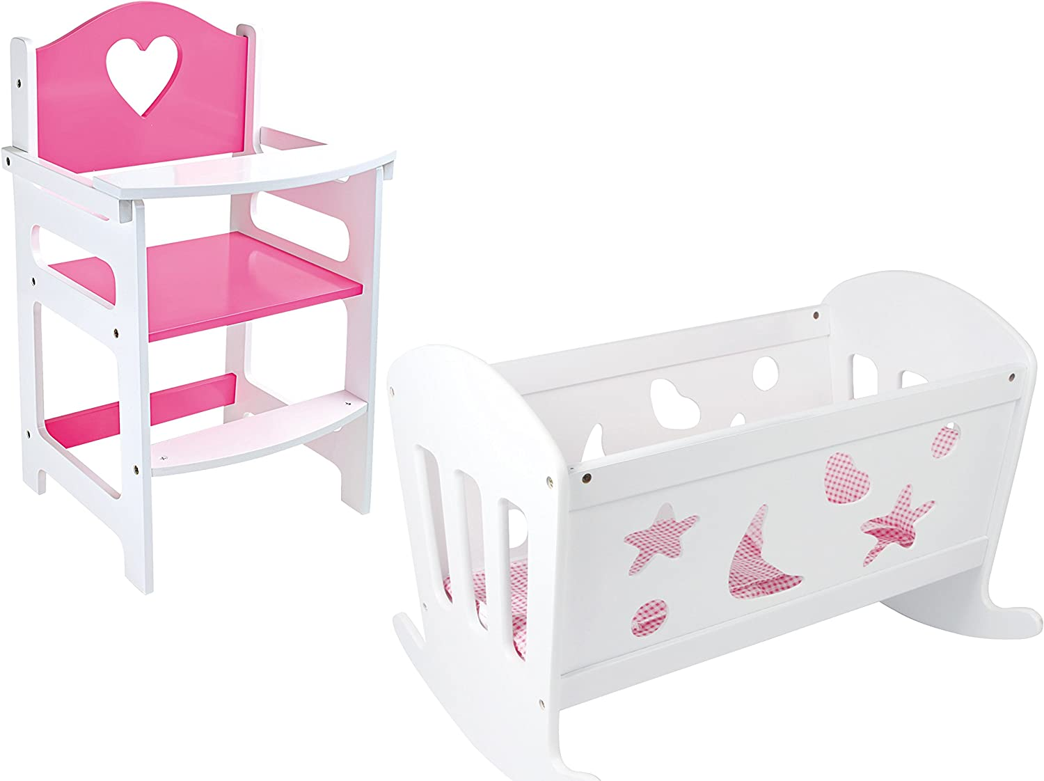 SET OF Dolls Pink and White Wooden Rocking Cradle Cot Bed and Matching Doll's Feeding High Chair Toy Furniture