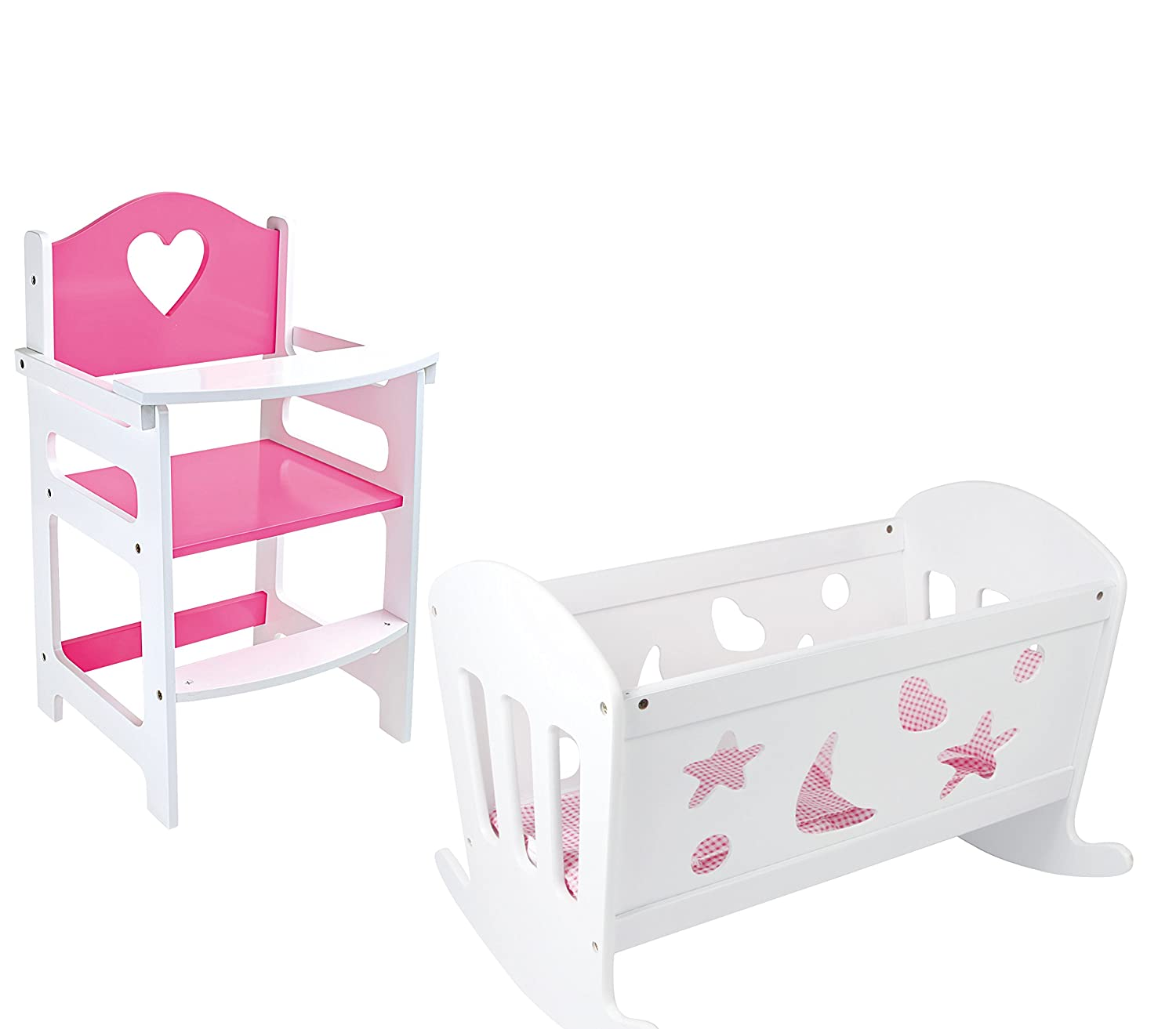 SET OF Dolls Pink and White Wooden Rocking Cradle Cot Bed and Matching Doll's Feeding High Chair Toy Furniture HHL