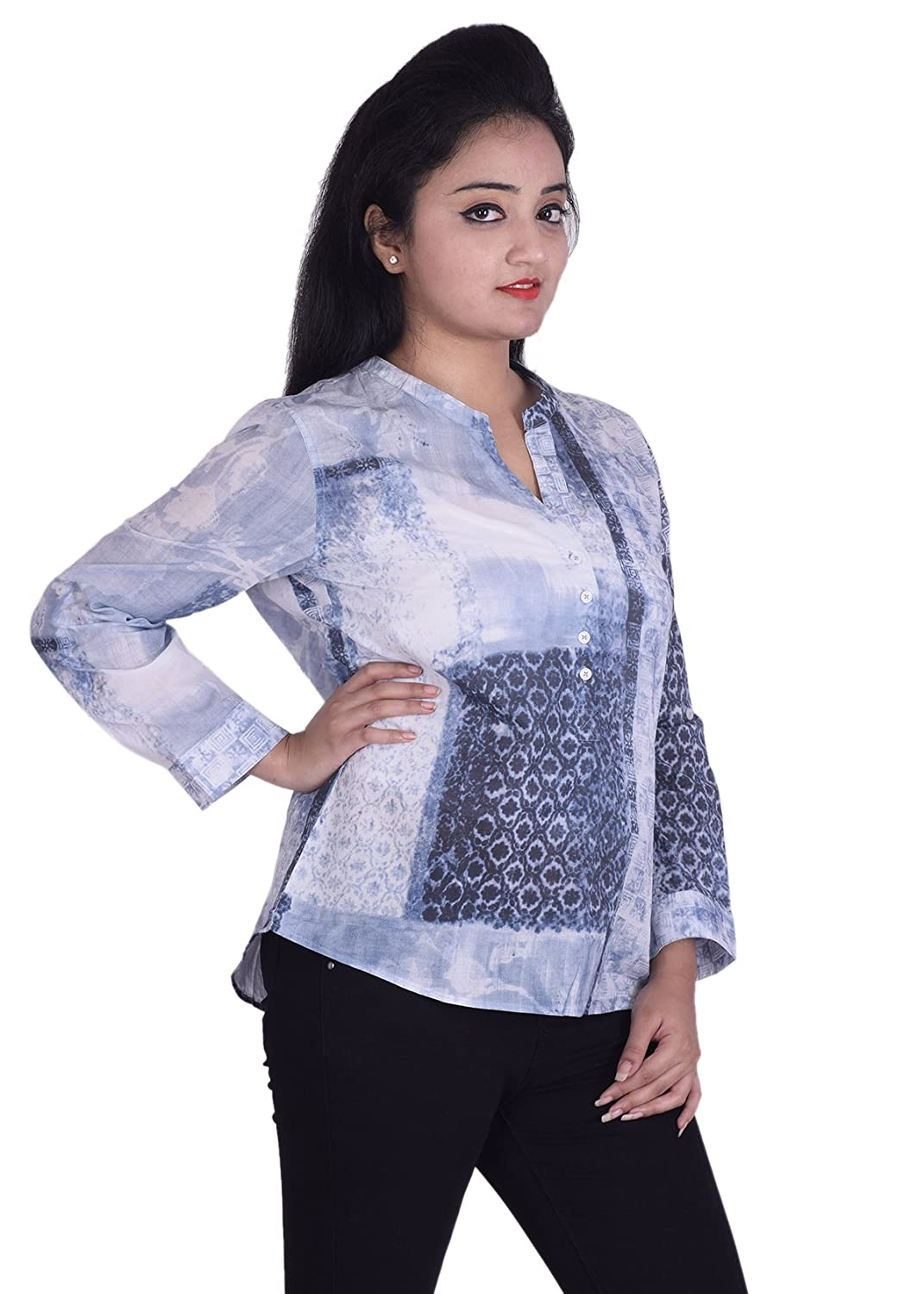 Ottoman Fashions Blue Cotton Printed Women S Kurtis Amazon In