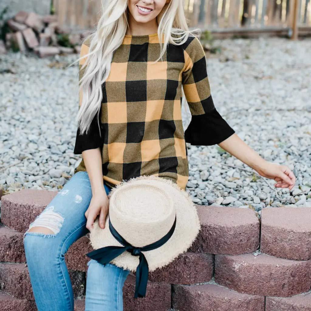 ZOMUSAR Fashion Womens Leopard Lattice Blouses Casual Long Sleeve Gradual Change Tops Blouses T-Shirt