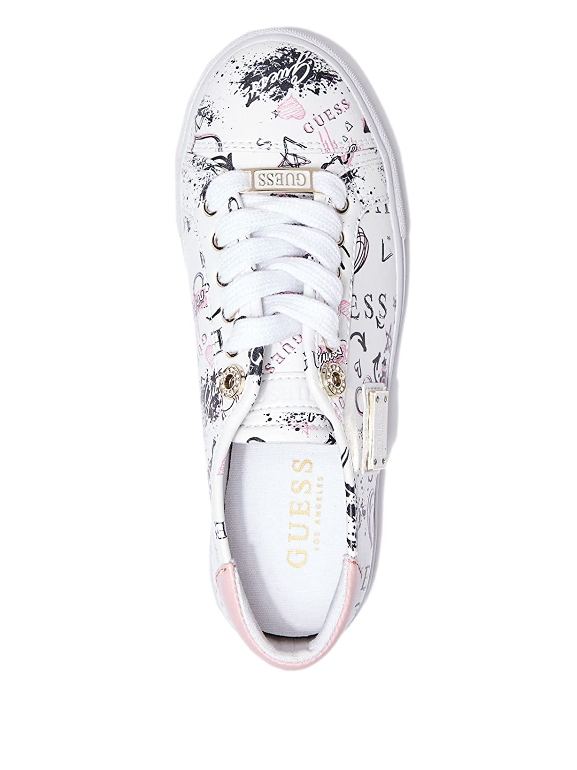 decd22dd0971 GUESS Factory Women s Greatly Printed Sneakers White Size  M US  Amazon.co. uk  Shoes   Bags