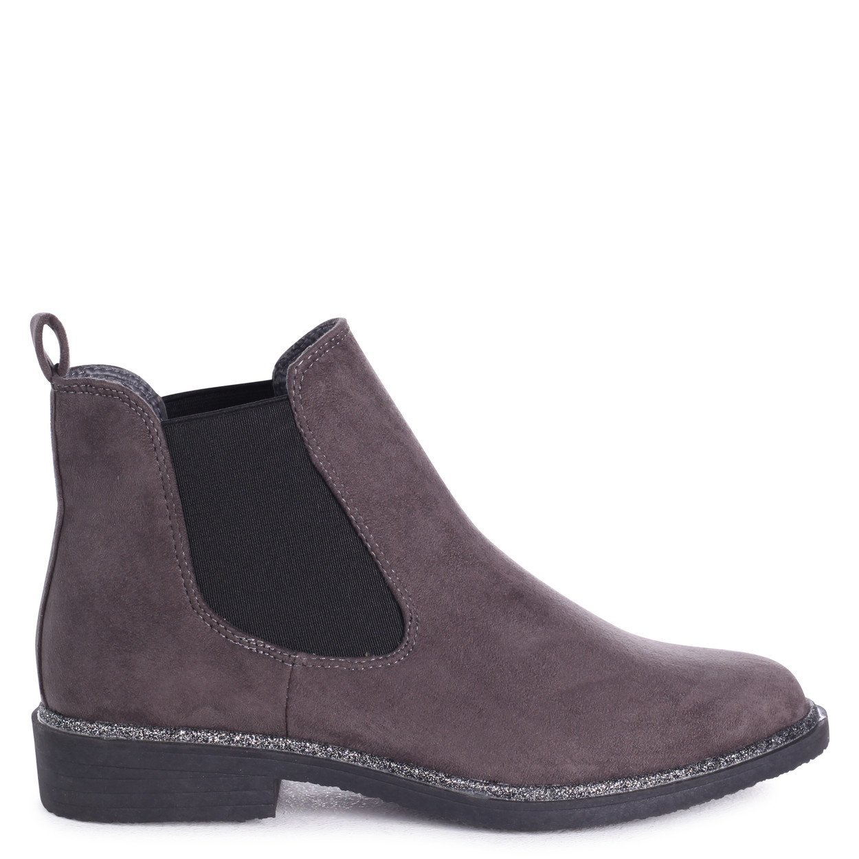 ea6055251eb Linzi Valencia - Grey Suede Classic Chelsea Boot with Glitter Trim   Amazon.co.uk  Shoes   Bags