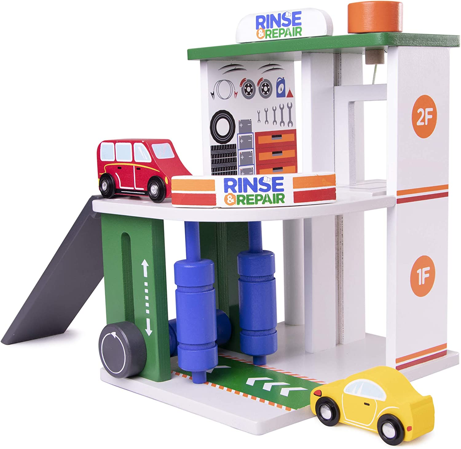 Imagination Generation Rinse & Repair Car Wash and Service Station | 2-in-1 Wooden Playset with Car Wash, Working Elevator, and Ramp | Includes 2 Colorful Toy Cars