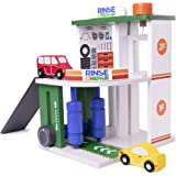 Imagination Generation Rinse & Repair Car Wash and Service Station   2-in-1 Wooden Playset with Car Wash, Working Elevator, and Ramp   Includes 2 Colorful Toy Cars