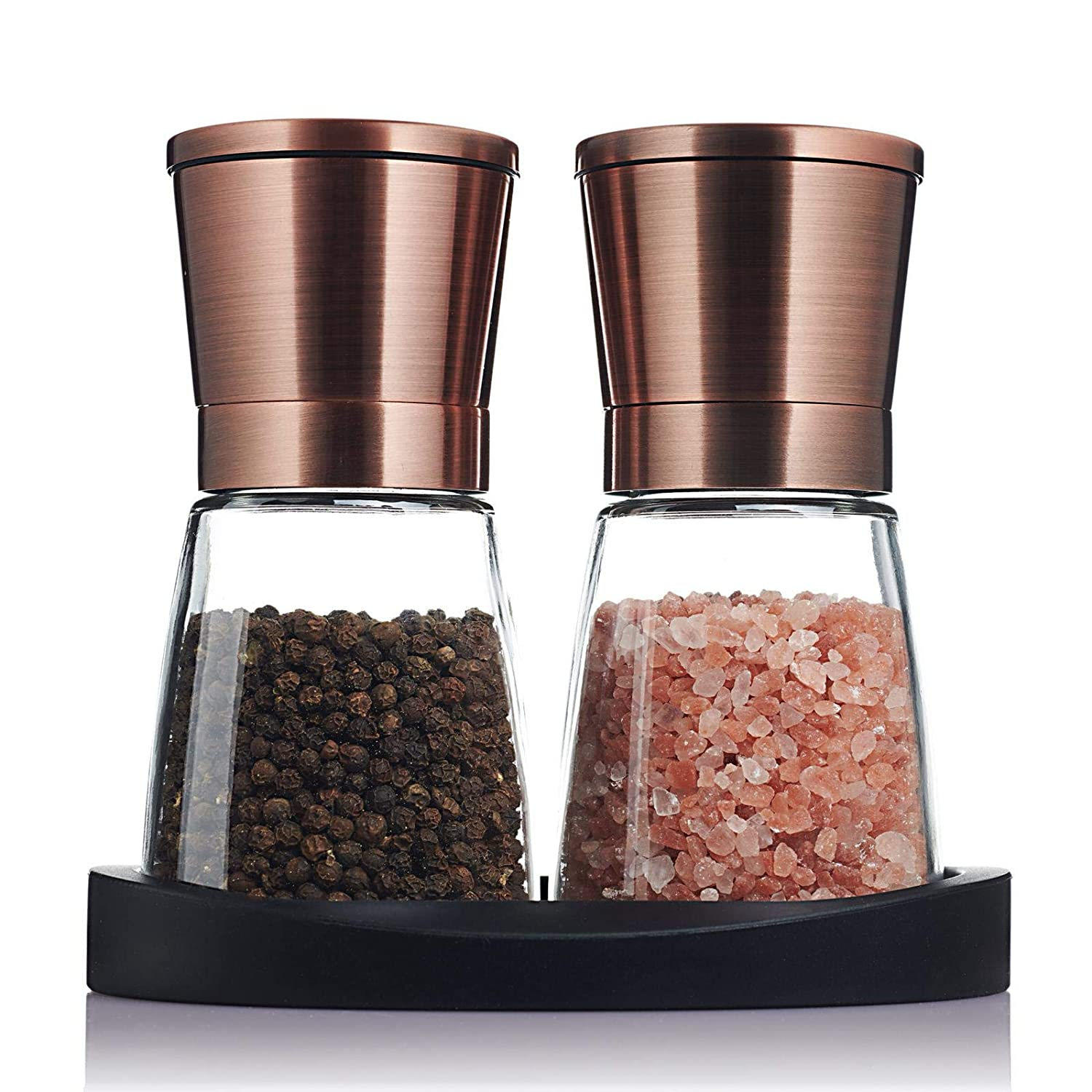 Traycon Salt And Pepper Grinder Set (2 Pc.) Copper Colored Stainless-Steel, Glass Base/Kitchen, Dining Room Accessory/Spices, Himalayan Pink Salt, Peppercorn/With Bonus Black Silicon Stand