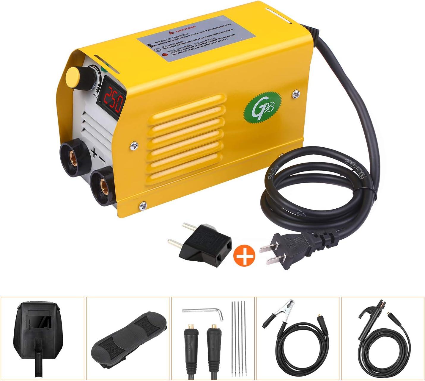 KKmoon Soldadora de arco 250Amps LCD,Máquina de soldadura,Mini soldadora eléctrica portátil antiadherente,con varillas de 2.5-3.2 mm,para soldar trabajos eléctricos
