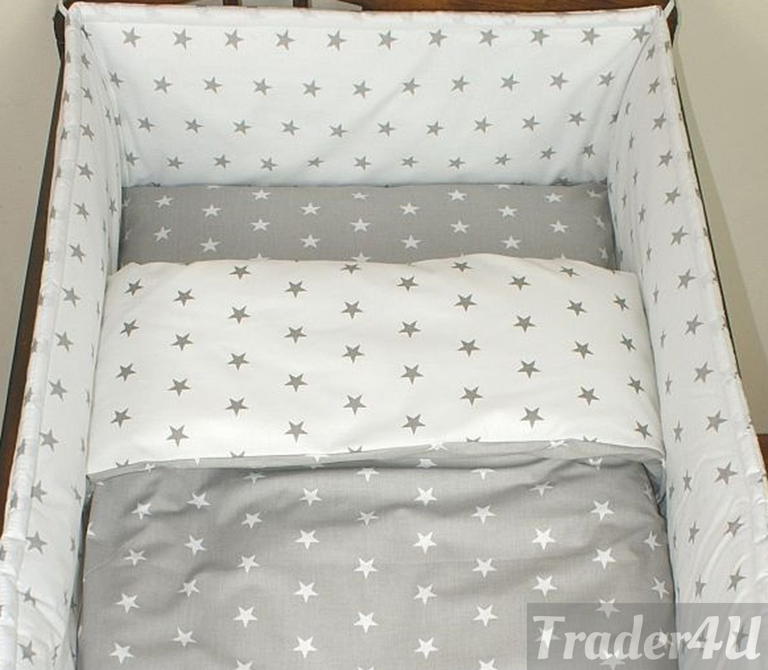MillaLu 3 Pcs Baby Nursery Bedding Set fit to Cot 120x60cm or Cot Bed 140x70cm Padded Bumper Fit to Cot Bed 140x70 cm, Navy Stars on White