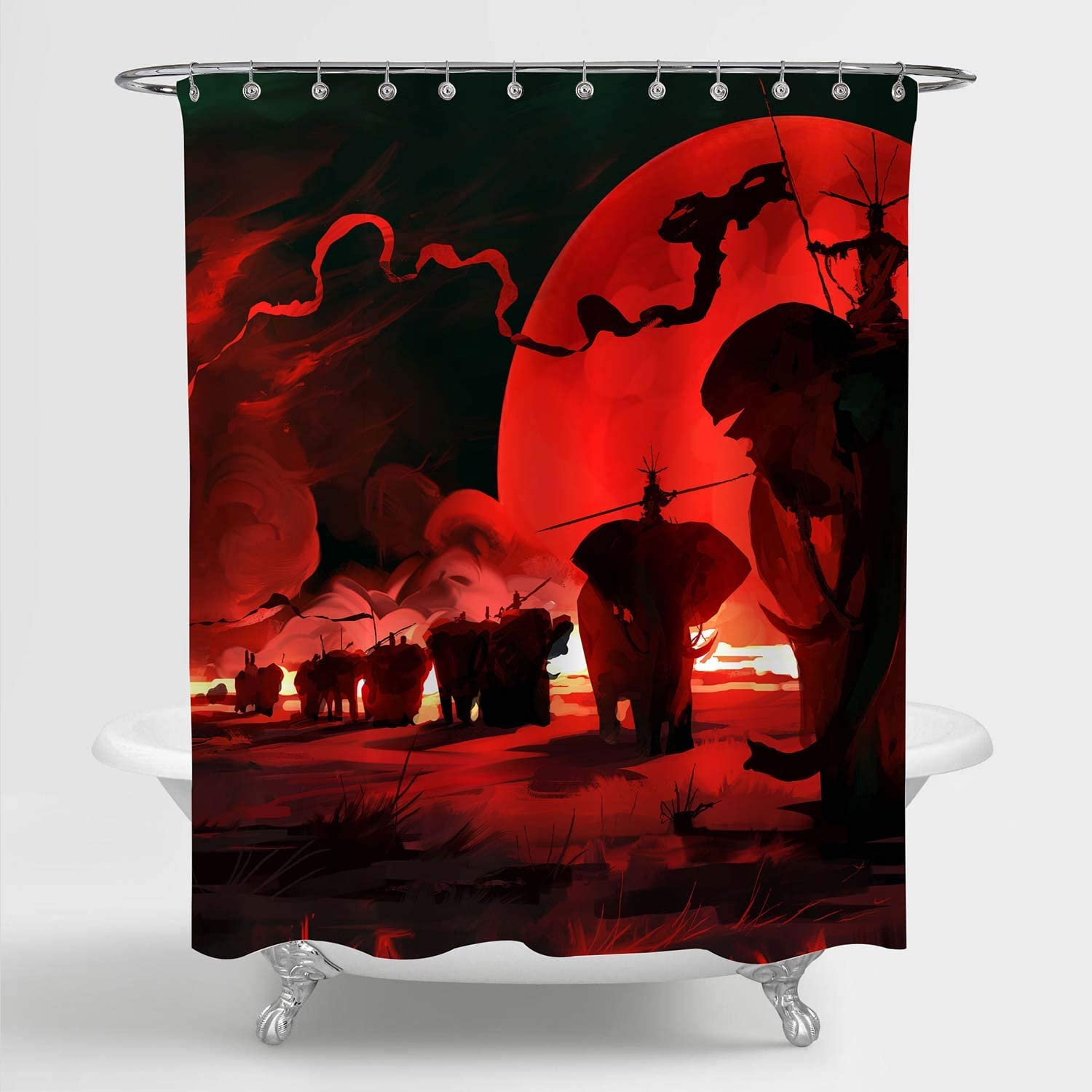 MitoVilla Elephants Shower Curtain for Red Bathroom Decor, War Animals with Red Full Moon Artwork Bathroom Accessories, Elephant Gifts for Men, Women and Kids Boys, Red Black, 72