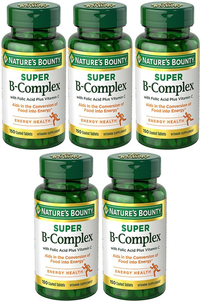 Folic Acid with B-Complex Plus C, 150 Tablets (5 Bottles)