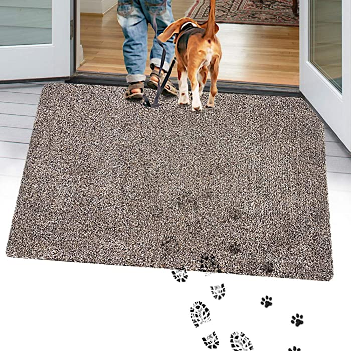 "TTN Home Microfiber Indoor Door Mats for Home Entrance 24"" x 36"" - Anti-Slip Entryway Rugs Indoor Mud Mat - Machine Washable Welcome Mats for Front Door Dog Rug (Dark Brown)"