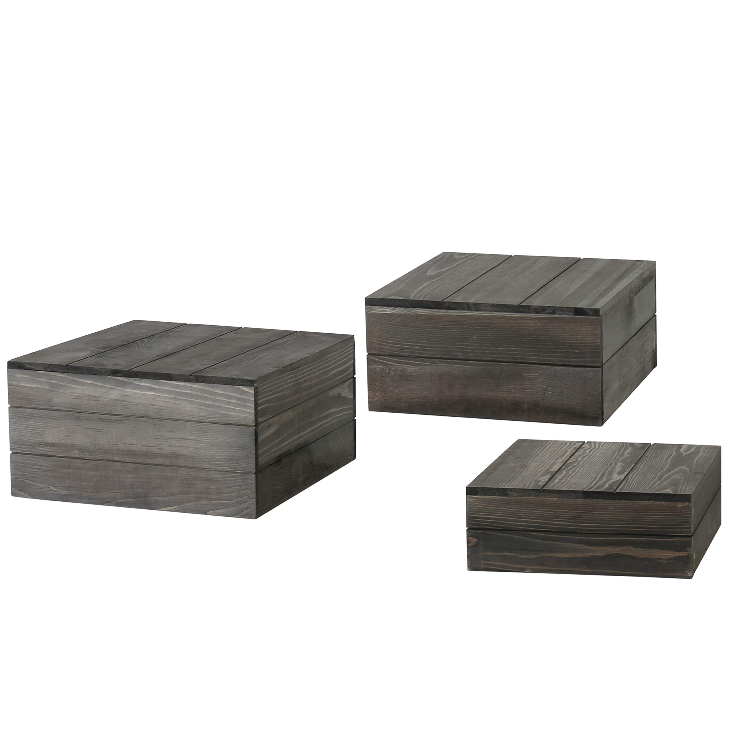 MyGift Rustic Gray Wood Crate Display Risers, Set of 3 by MyGift (Image #5)