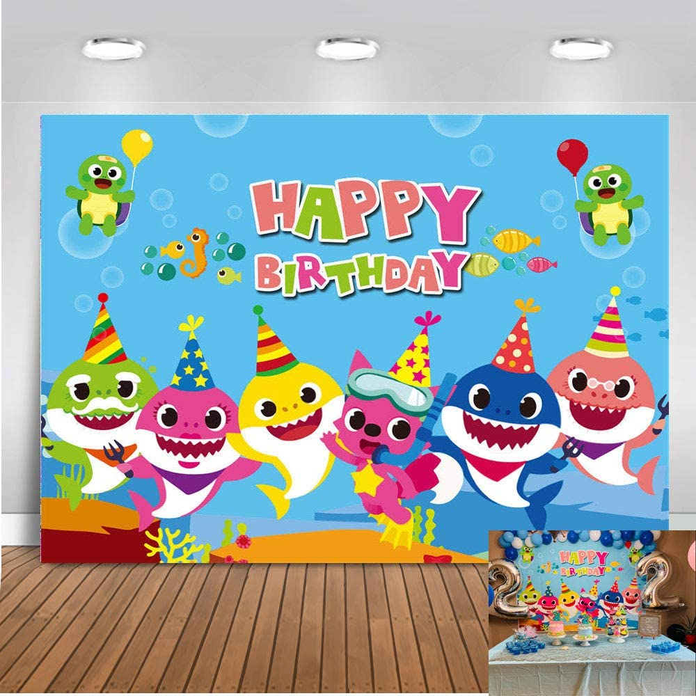 QHY 7x5ft Baby Shark Family Doo Doo Doo Theme Photo Background Children Boy and Girl Happy Birthday Party Photography Backdrops Cartoon Animals Theme Studio Props Booth Vinyl
