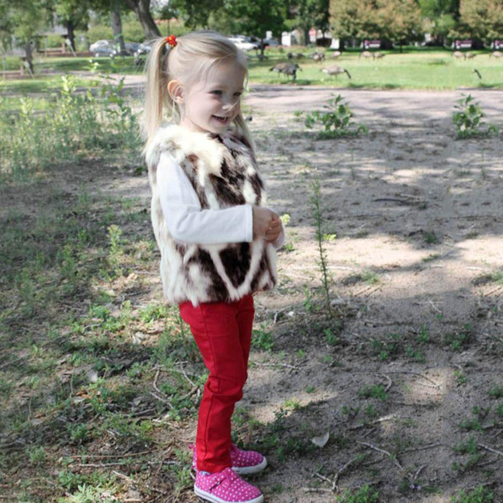SHITOU Toddler Kids Baby Girl Winter Warm Clothes Faux Fur Waistcoat Thick Coat Outwear