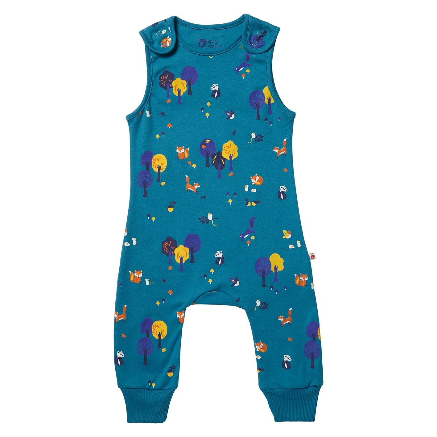 Piccalilly Organic Cotton Unisex Teal Blue Woodland Print Dungarees
