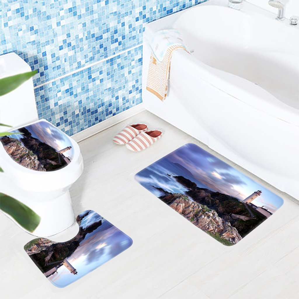 nice Lighthouse Bath Mats Part - 6: Amazon.com: Wondertify Bath Mat,Beach Lighthouse Of The Beach Bathroom  Carpet Rug,Non-Slip 3 Piece Bathroom Mat Set: Home u0026 Kitchen