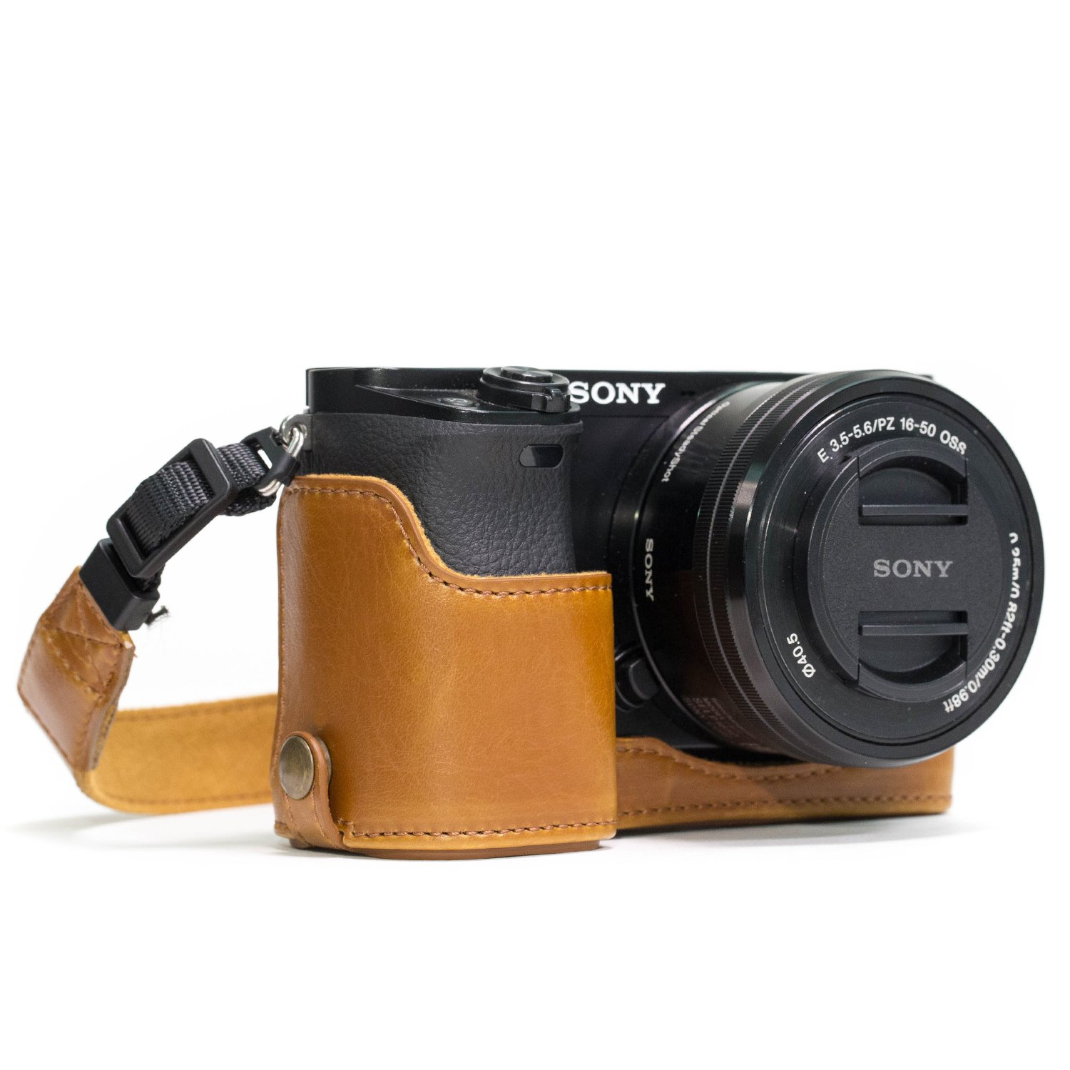 MegaGear MG961 Sony Alpha A6300, A6000 Ever Ready Leather Camera Half Case and Strap, with Battery Access, Dark Brown