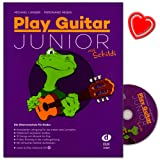 Play Guitar Junior mit Schildi - Gitarrenschule von Michael Langer für Kinder - Kompletter Lehrgang für die ersten zwei Lemjahre in einem Band - Lehrbuch mit CD,mit 32 bunten Schildi-Aufklebern und bunter herzförmiger Notenklammer