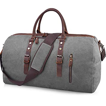 Amazon.com  Travel Duffel Bag Large Canvas Duffle Bag for Men Women Leather  Weekender Overnight Bag Carryon Weekend Bag Grey  JCX US 6430975b72a5b