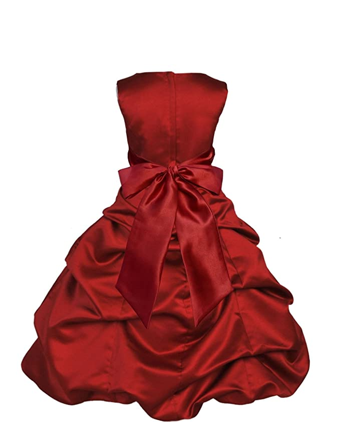 Amazon.com: Wedding Pageant Satin Pick up Flower Girl Dress ...