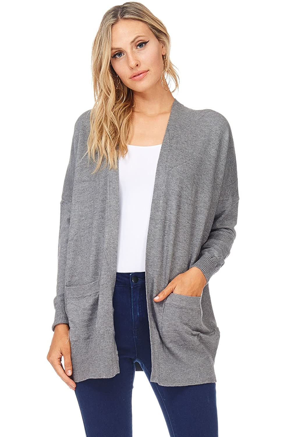 A+D Womens Casual Open Knit Dropped Sleeve Cardigan Sweater Top