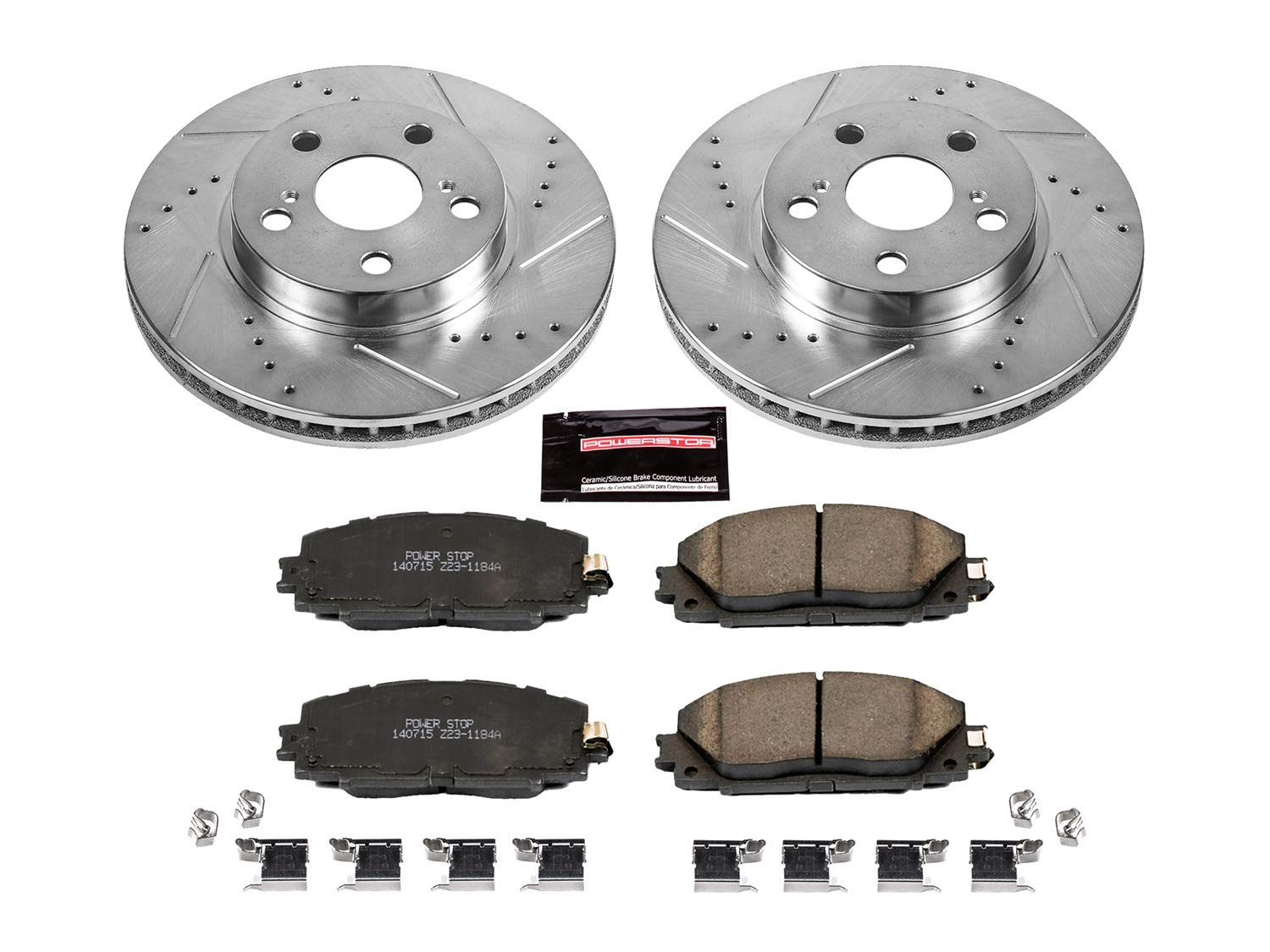 Power Stop K5870 Front Z23 Evolution Brake Kit with Drilled/Slotted Rotors and Ceramic Brake Pads