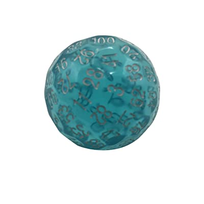 Skull Splitter Dice Single 100 Sided Polyhedral Dice (D100) | Translucent Blue Color Die RPGs (45mm): Toys & Games