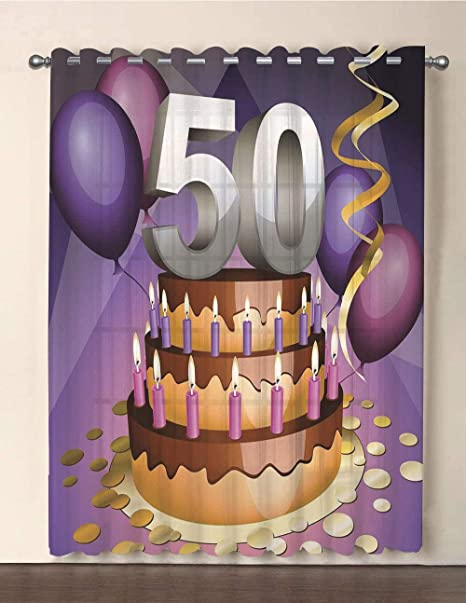IPrint One Panel Extra Wide Sheer Voile Patio Door Curtain50th Birthday DecorationsCreamy