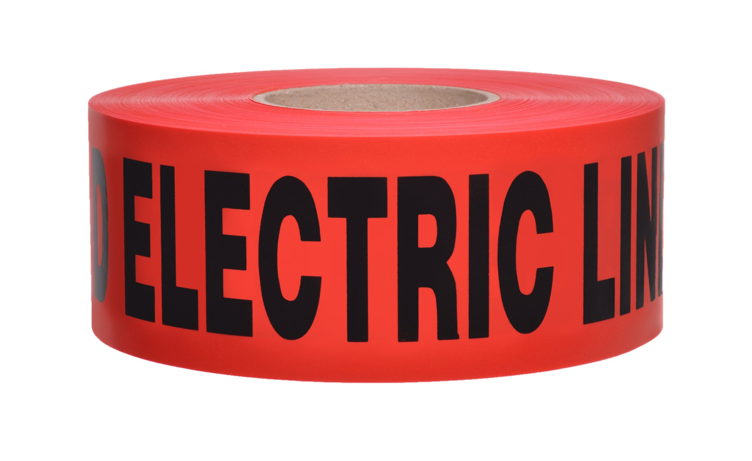 Presco B3104R6-658 1000' Length x 3'' Width x 4 mil Thick, Polyethylene, Red with Black Ink Non-Detectable Underground Warning Tape, Legend ''Caution Buried Electric Line Below'' (Pack of 8)
