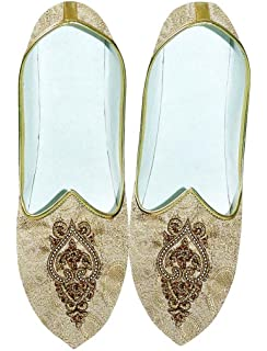 Mens Beige Wedding Shoes Hand Embroidered MJ0702