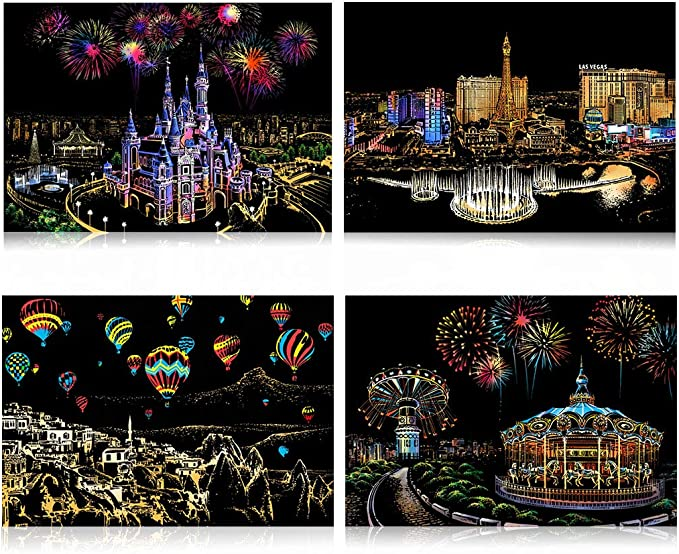 with 3 Tools Sketch Pad DIY Night View Scratchboard 16 x 11.2 Creative Gift Craft Art Set Amusement Park Rainbow Scratch Art Painting Paper Scratch Painting Kits for Adults /& Kids