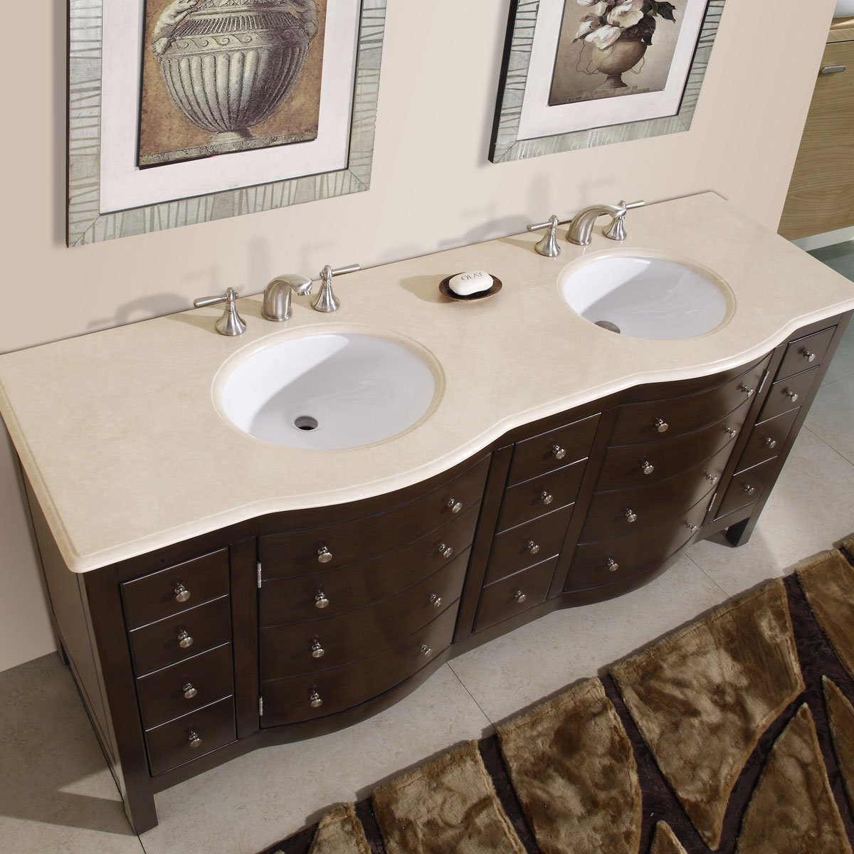 Amazon.com: Silkroad Exclusive Cream Marfil Marble Stone Double Sink Bathroom  Vanity With Cabinet, 72 Inch: Home U0026 Kitchen