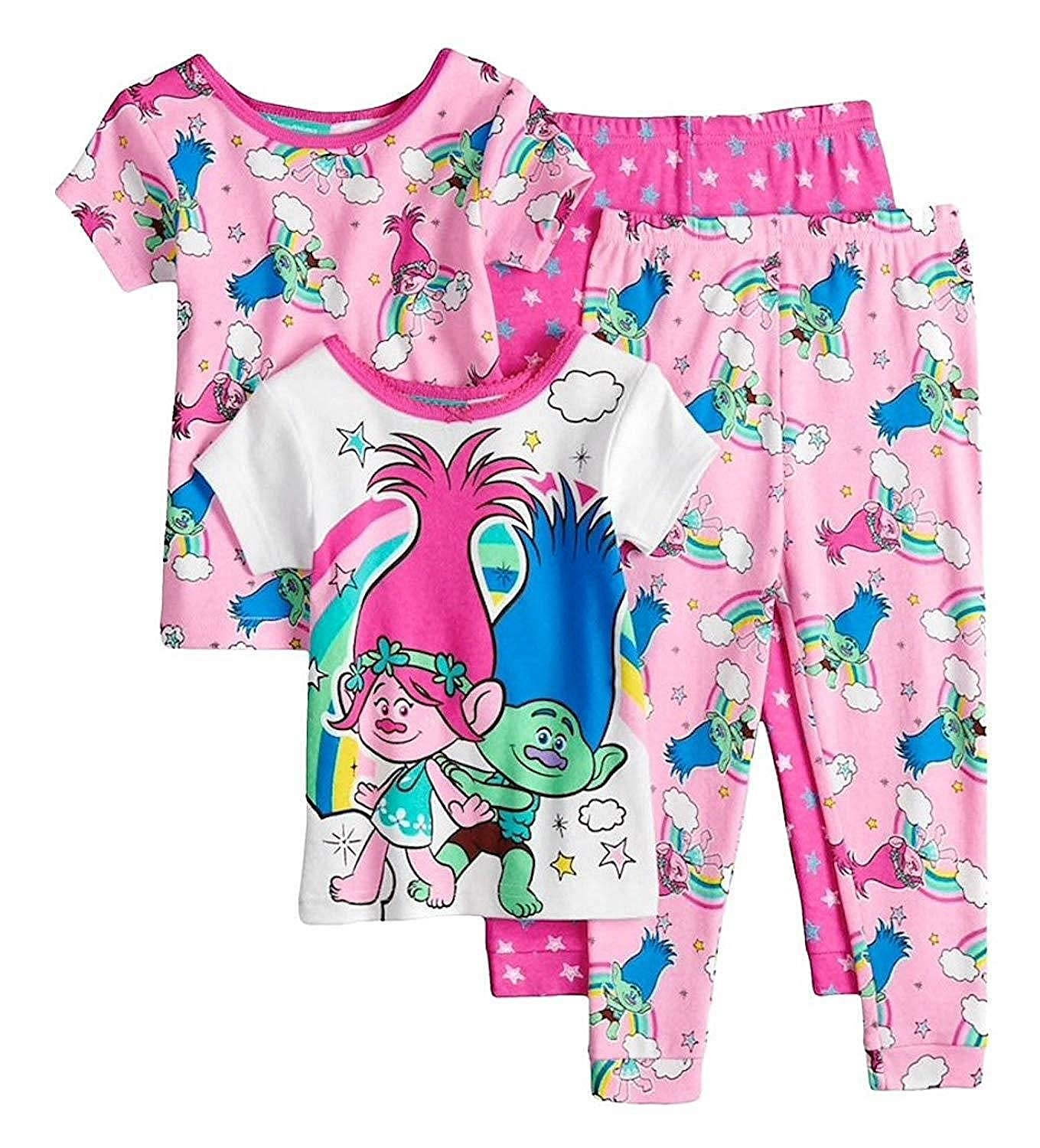 Size 3T Trolls Poppy and Branch Rainbow Short-Sleeved 4-Piece Pajama Set