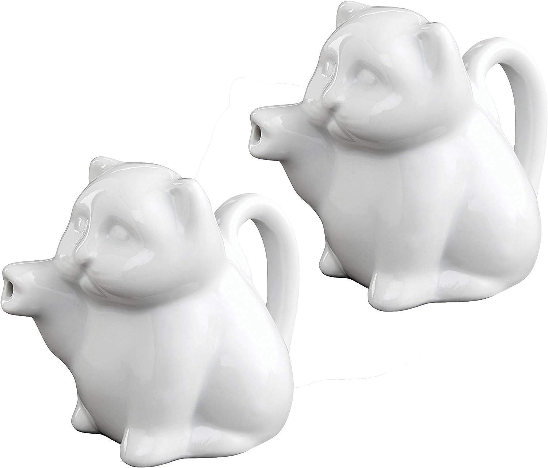 HIC Harold Import Co. NT1096/2 HIC Mini Cat Creamer Server with Handle, Fine White Porcelain, Set of 2,