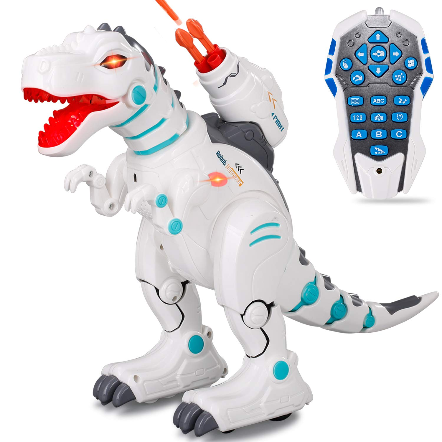 JIEQI Remote Control Dinosaur Robot for Kids,Intelligent Robot Toys Sings Dances Sprays Mist Launches Missiles Walking Fight Models Electronic RC Robot Toys for Boys Girls Gift